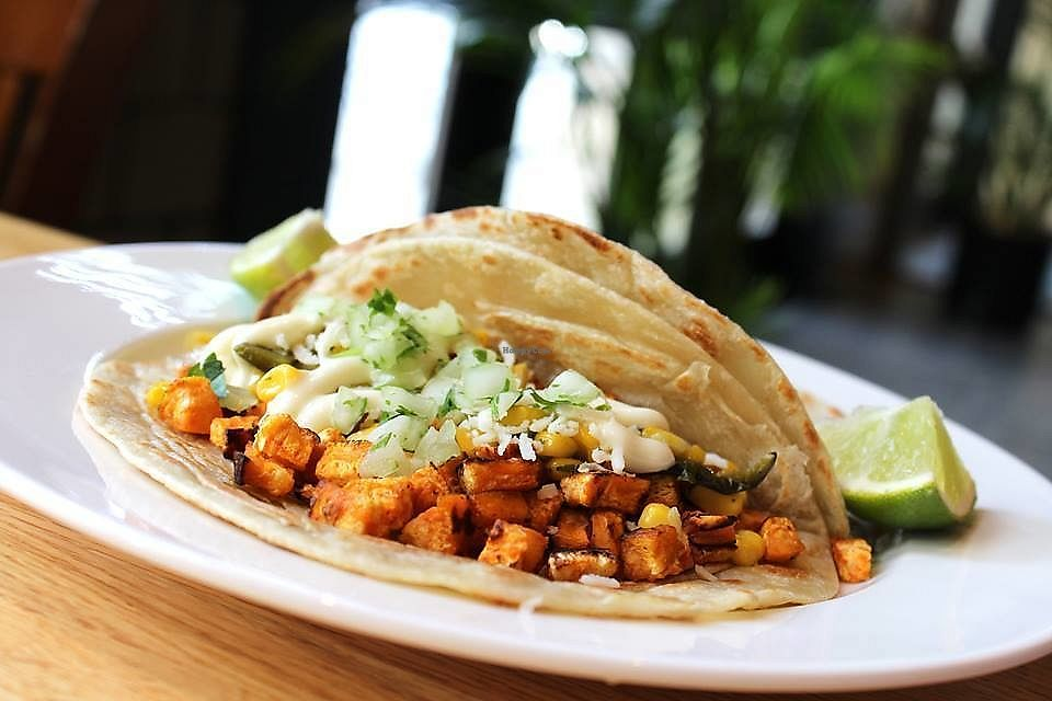 """Photo of Malo  by <a href=""""/members/profile/MelodyVeganJoy"""">MelodyVeganJoy</a> <br/>blackened sweet potato tacos with Iowa corn salsa, fresh onion, cilantro and lime crema <br/> April 5, 2018  - <a href='/contact/abuse/image/89962/381317'>Report</a>"""