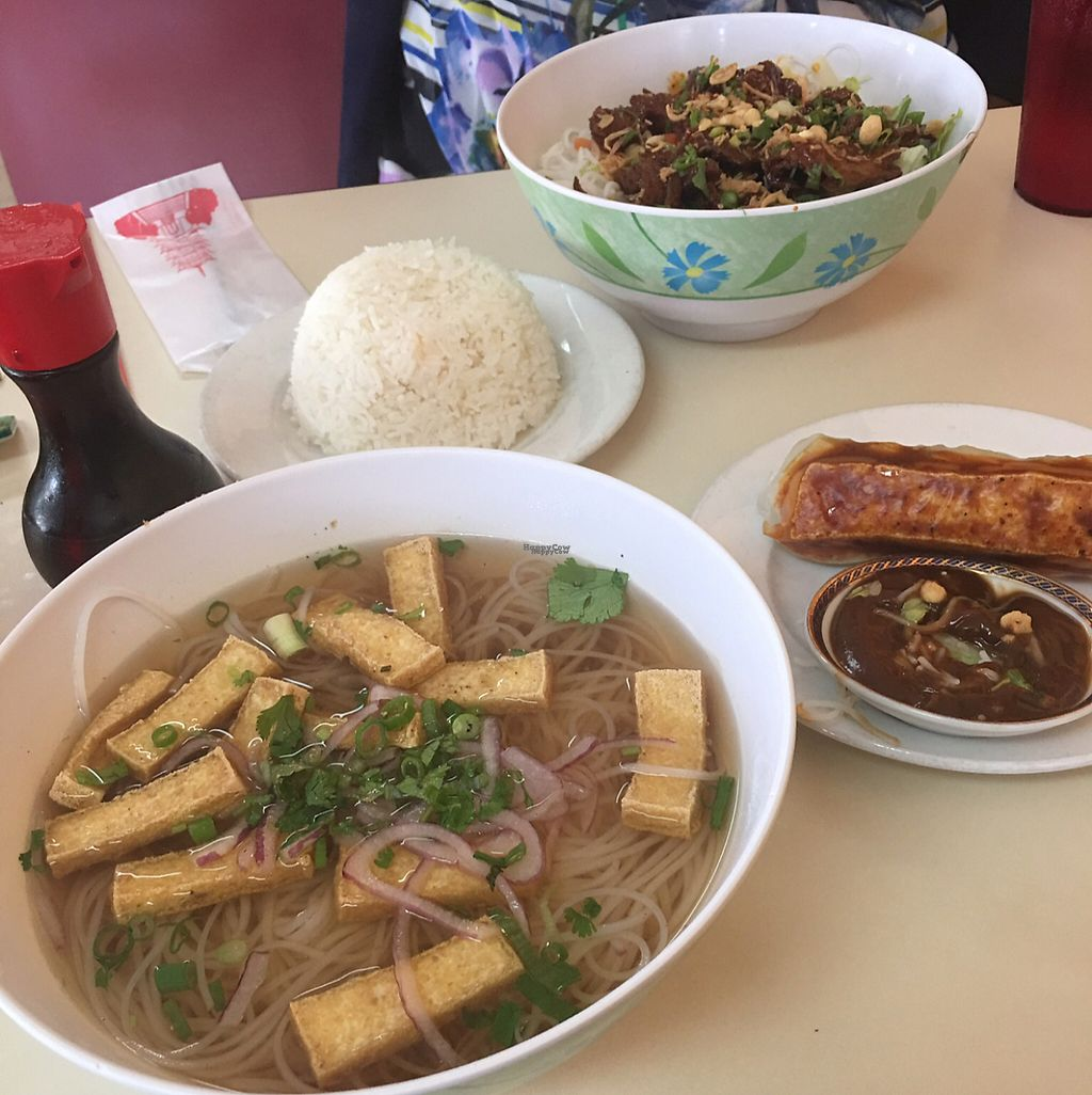 """Photo of Pho 7  by <a href=""""/members/profile/Cyandray"""">Cyandray</a> <br/>Vegan Pho w/ Vegan Summer Roll. (further back) vegan duck vermicelli with white steamed rice   <br/> April 6, 2017  - <a href='/contact/abuse/image/89967/245312'>Report</a>"""