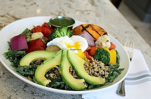 """Photo of Bubba  by <a href=""""/members/profile/MelodyVeganJoy"""">MelodyVeganJoy</a> <br/>Southern Protein Bowl with chopped kale, tri-color quinoa, grilled sweet potato, roasted vegetables, watermelon radish, sunflower seeds, grape tomatoes, avocado, poblano pesto, and poached egg <br/> April 4, 2018  - <a href='/contact/abuse/image/89978/380844'>Report</a>"""