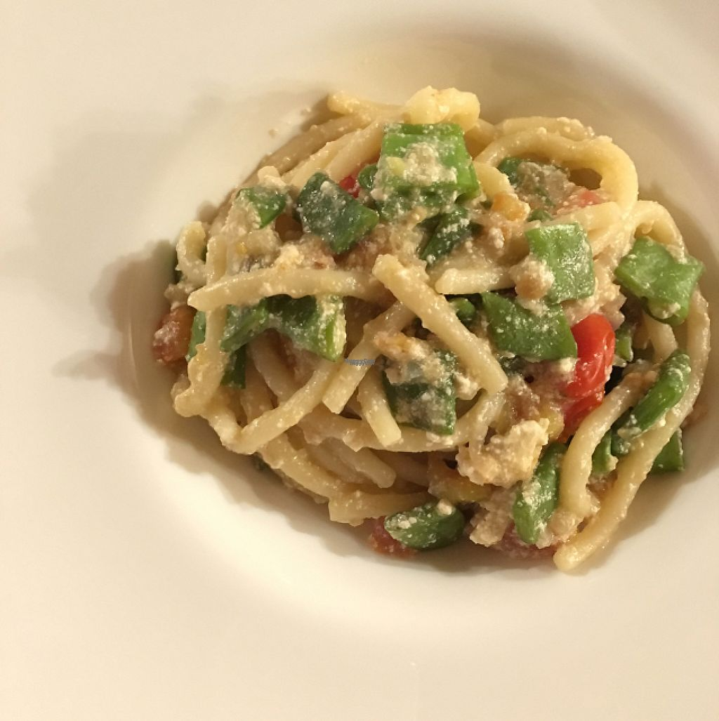 "Photo of Orto & un Quarto  by <a href=""/members/profile/IlCavalloFrisone"">IlCavalloFrisone</a> <br/>pici (typical fresh pasta from Tuscany) with tofu cream and vegetables  <br/> April 7, 2017  - <a href='/contact/abuse/image/89993/245397'>Report</a>"