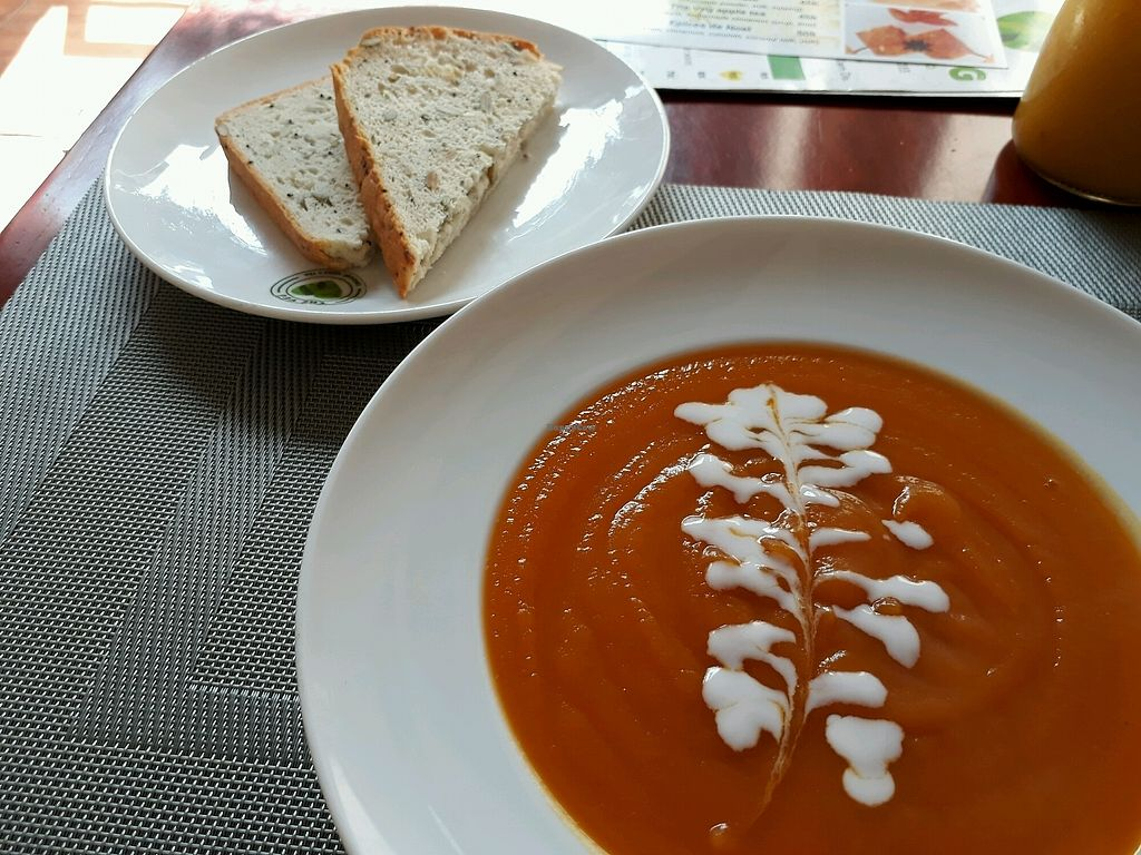 "Photo of The Veg - Organic Vego and Tea  by <a href=""/members/profile/LilacHippy"">LilacHippy</a> <br/>Vegan soup with bread <br/> December 23, 2017  - <a href='/contact/abuse/image/89997/338289'>Report</a>"