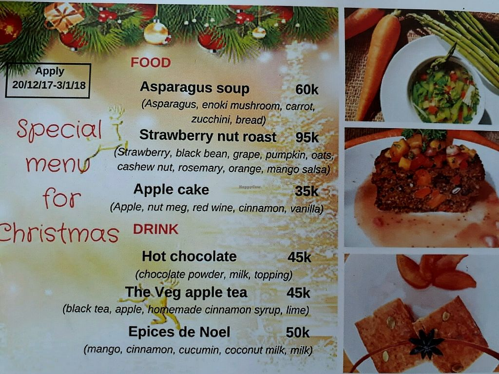 "Photo of The Veg - Organic Vego and Tea  by <a href=""/members/profile/LilacHippy"">LilacHippy</a> <br/>Christmas Menu 2017 <br/> December 23, 2017  - <a href='/contact/abuse/image/89997/338292'>Report</a>"