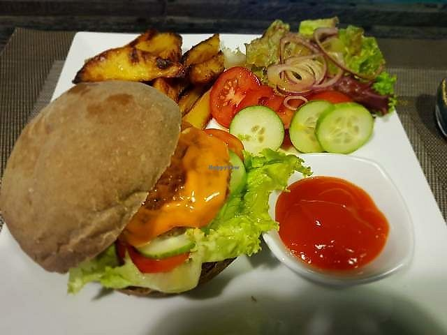 "Photo of The Veg - Organic Vego and Tea  by <a href=""/members/profile/Trambau"">Trambau</a> <br/>Carot and corn burger <br/> February 27, 2018  - <a href='/contact/abuse/image/89997/364322'>Report</a>"
