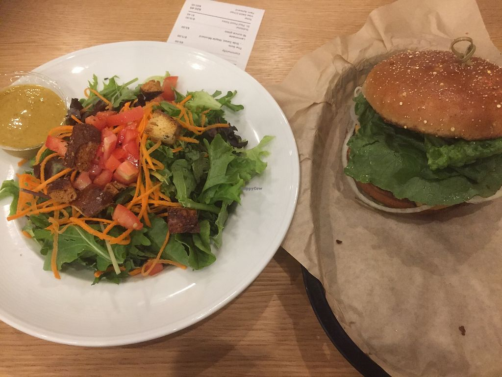 """Photo of J Selby's  by <a href=""""/members/profile/vegannomad2"""">vegannomad2</a> <br/>solo burger with side salad <br/> July 23, 2017  - <a href='/contact/abuse/image/90026/283452'>Report</a>"""