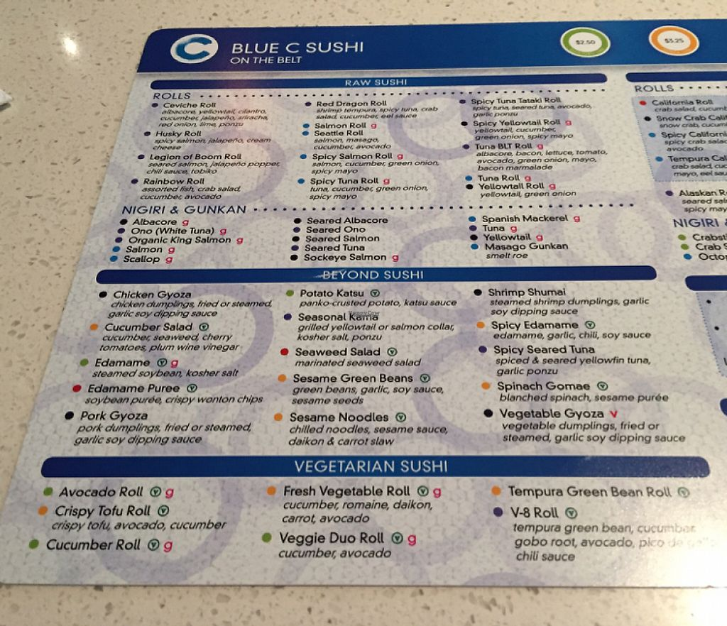 """Photo of Blue C Sushi  by <a href=""""/members/profile/AshleighWhitworth"""">AshleighWhitworth</a> <br/>sushi menu  <br/> April 7, 2017  - <a href='/contact/abuse/image/90027/245567'>Report</a>"""
