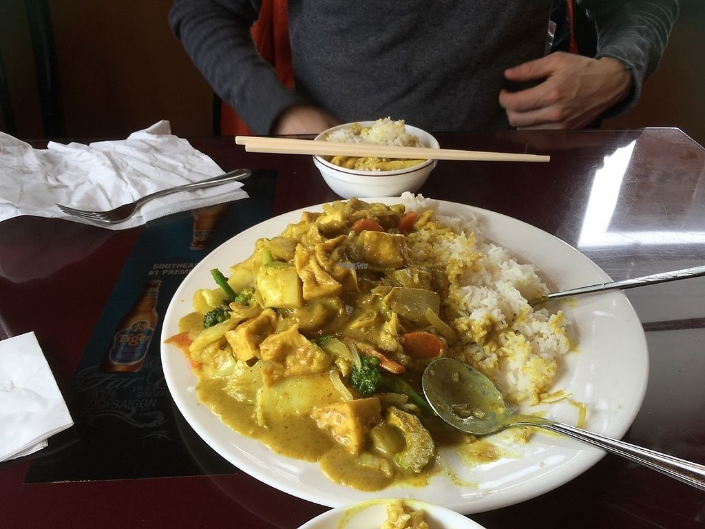 """Photo of Dong Nai   by <a href=""""/members/profile/alicer19"""">alicer19</a> <br/>Huge portion, asked for extra tofu! Filling enough to share. Choice C on the vegetarian menu --- but is vegan.  <br/> April 12, 2017  - <a href='/contact/abuse/image/90062/247373'>Report</a>"""