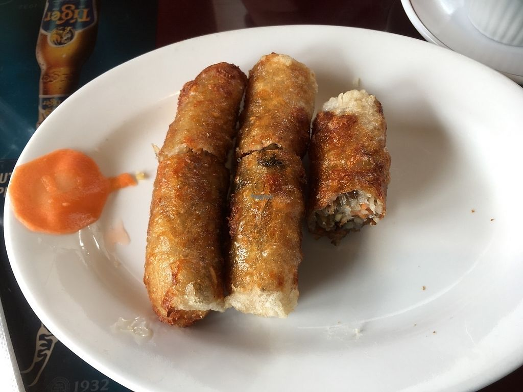"""Photo of Dong Nai   by <a href=""""/members/profile/alicer19"""">alicer19</a> <br/>Veggie spring rolls. The fish sauce --- is house made and vegan.  <br/> April 12, 2017  - <a href='/contact/abuse/image/90062/247374'>Report</a>"""