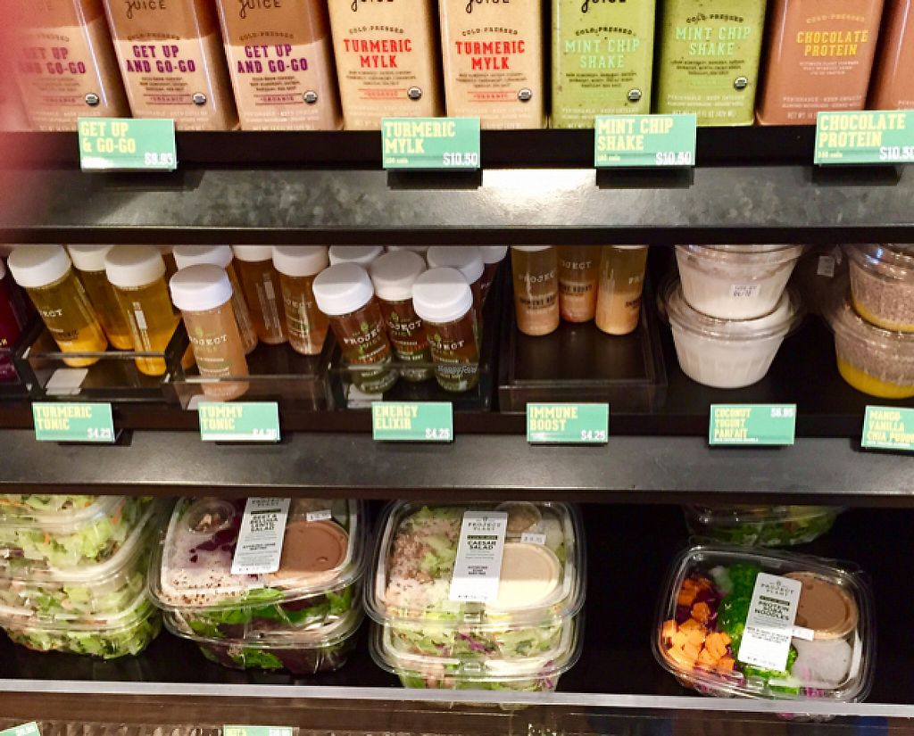 """Photo of Project Juice - Castro District  by <a href=""""/members/profile/SFRobbie"""">SFRobbie</a> <br/>Grab and go vegan salads and juices <br/> April 9, 2017  - <a href='/contact/abuse/image/90071/246054'>Report</a>"""