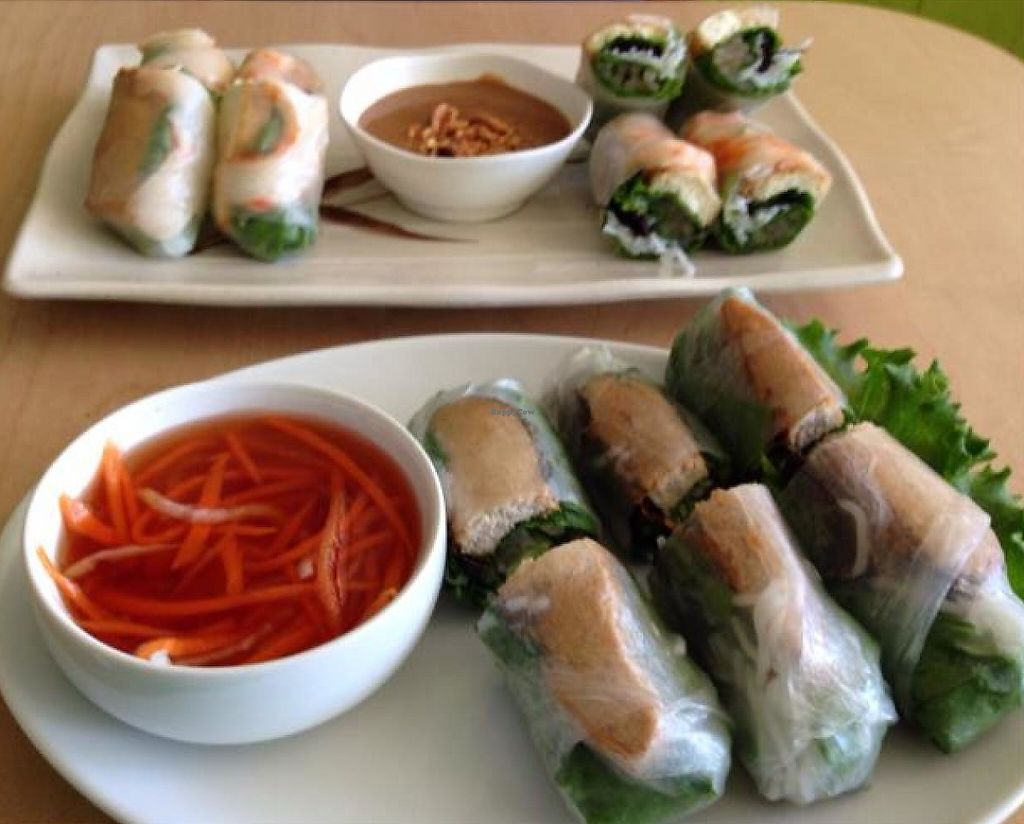 """Photo of Happy Veggie  by <a href=""""/members/profile/Linvg"""">Linvg</a> <br/>two kinds of spring rolls <br/> September 6, 2014  - <a href='/contact/abuse/image/9009/194296'>Report</a>"""