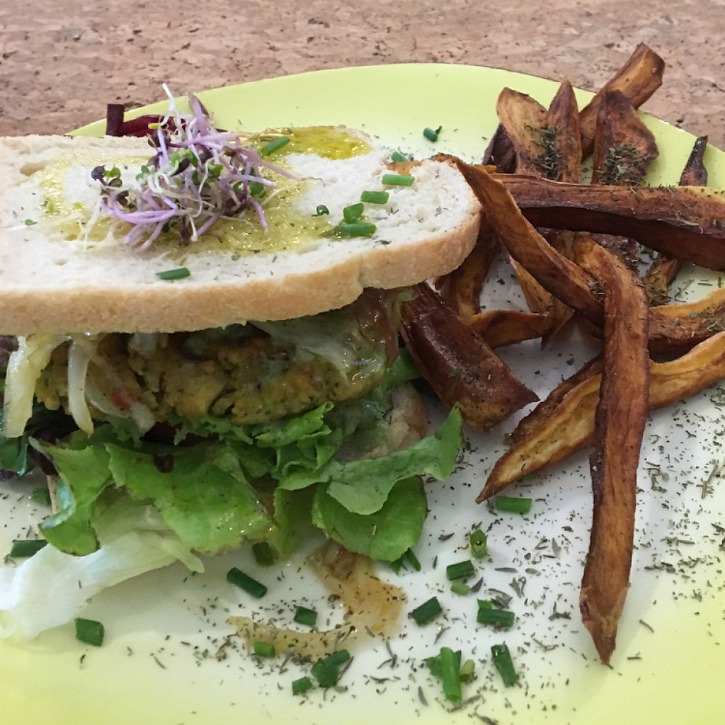 """Photo of Aloha Cafe  by <a href=""""/members/profile/ChrisP-Ham"""">ChrisP-Ham</a> <br/>Tofu Burger with Sweet Potato Fries was excellent!!!! So much Flavor!  <br/> May 20, 2017  - <a href='/contact/abuse/image/90124/260621'>Report</a>"""