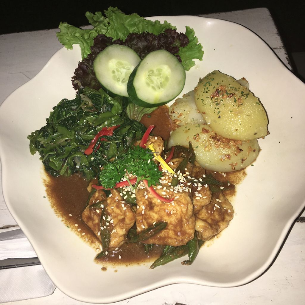 """Photo of Nook  by <a href=""""/members/profile/SarahBonney"""">SarahBonney</a> <br/>sesame maple tofu with wilted spinach and sautéed potato <br/> May 5, 2017  - <a href='/contact/abuse/image/90147/255857'>Report</a>"""