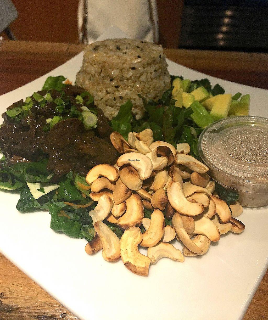 "Photo of Atmana Juiceria  by <a href=""/members/profile/CrisyRivera"">CrisyRivera</a> <br/>Seitan in asian sauce, brown rice, avocado salad, peanut butter sauce.  <br/> November 11, 2017  - <a href='/contact/abuse/image/90148/324392'>Report</a>"