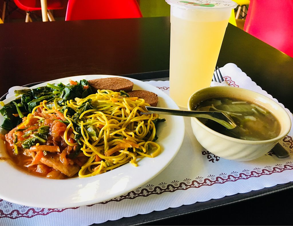 """Photo of 3 1/2 Cafe y Te  by <a href=""""/members/profile/CrisyRivera"""">CrisyRivera</a> <br/>Spinach, tomato sauce tofu, noodles and soy. Complimentary soup <br/> November 13, 2017  - <a href='/contact/abuse/image/90150/325396'>Report</a>"""