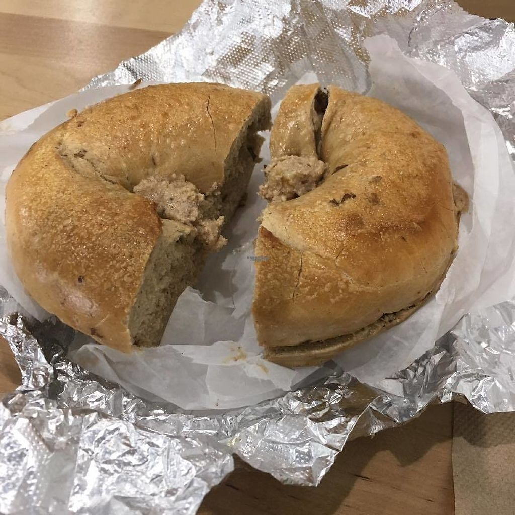 """Photo of 5 Borough Bagels  by <a href=""""/members/profile/shafess"""">shafess</a> <br/>Cinnamon Raisin Bagel with Cinnamon Walnut Tofu Spread <br/> April 10, 2017  - <a href='/contact/abuse/image/90154/246787'>Report</a>"""