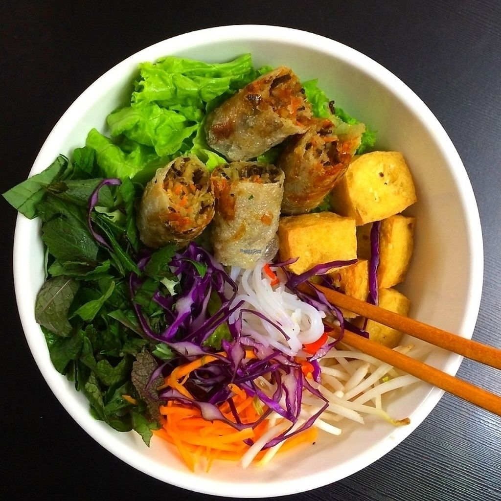 """Photo of Veggie Saigon  by <a href=""""/members/profile/Richard_Nguyen"""">Richard_Nguyen</a> <br/>Bún chả giò - Vermicelli & fried spring rolls & tofu & fresh vegetable <br/> April 11, 2017  - <a href='/contact/abuse/image/90157/246863'>Report</a>"""
