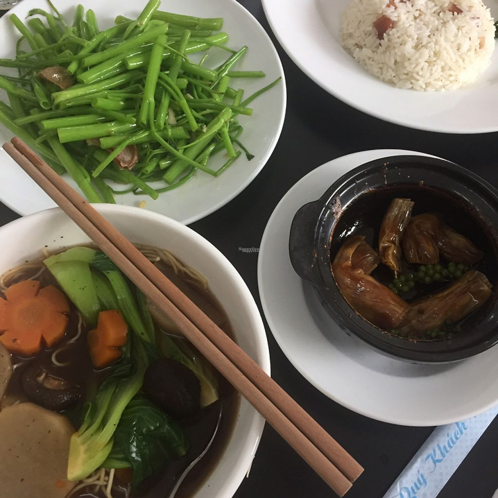 """Photo of Veggie Saigon  by <a href=""""/members/profile/peetroxy"""">peetroxy</a> <br/>Noodle soup with vegetables, stir fried water spinach with garlic, tofu skins in black pepper sauce & coconut fried rice <br/> April 23, 2017  - <a href='/contact/abuse/image/90157/251407'>Report</a>"""