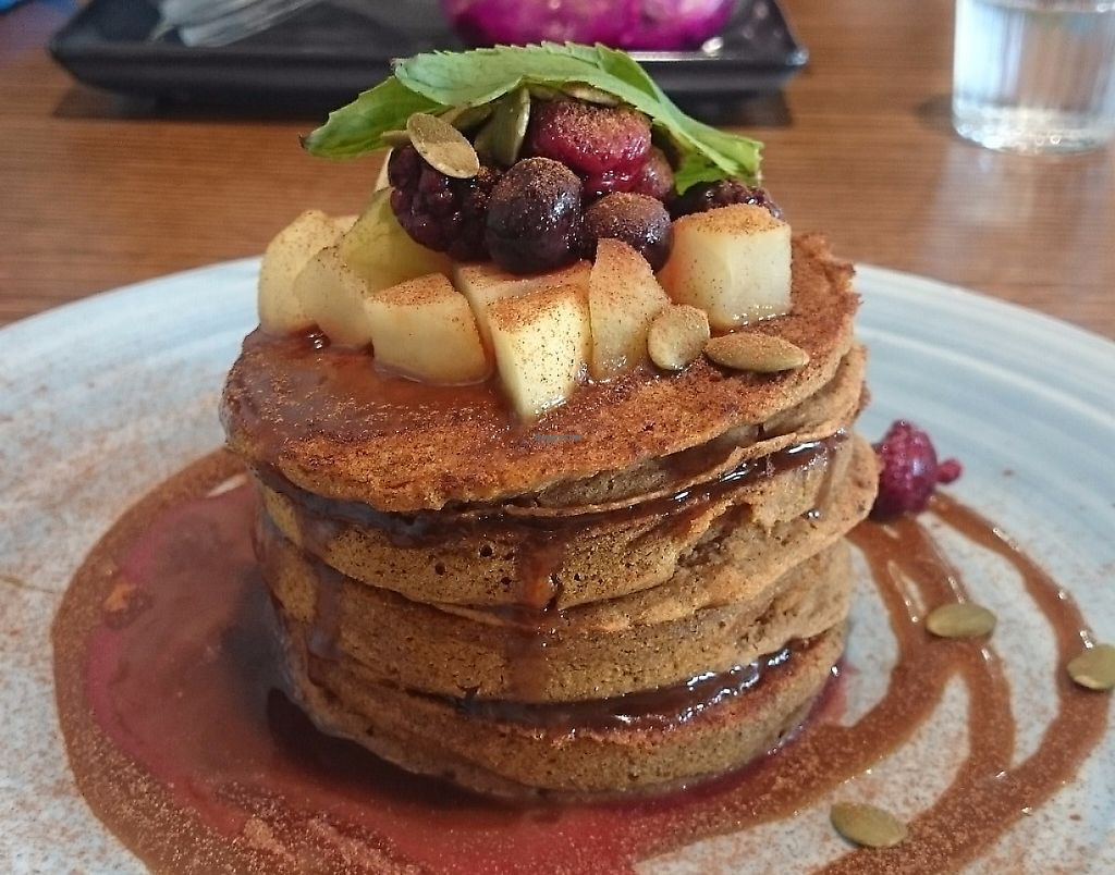 "Photo of Health Freak Cafe  by <a href=""/members/profile/Cynthia1998"">Cynthia1998</a> <br/>Vegan Pumpkin spice pancakes with fruit and salted caramel sauce  <br/> May 14, 2017  - <a href='/contact/abuse/image/90162/276709'>Report</a>"