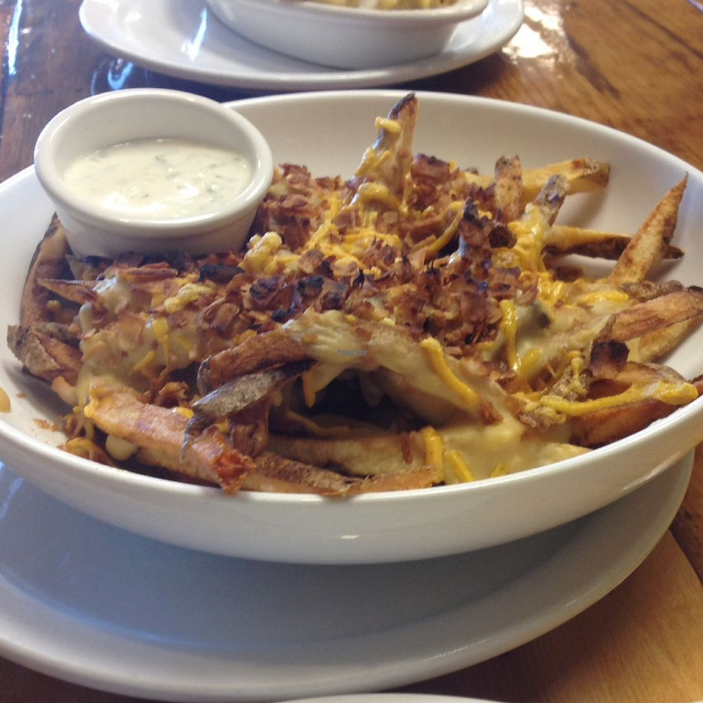 """Photo of The Mac House  by <a href=""""/members/profile/turtleveg"""">turtleveg</a> <br/>vegan cheese fries with vegan ranch and facon <br/> April 11, 2017  - <a href='/contact/abuse/image/90211/246976'>Report</a>"""