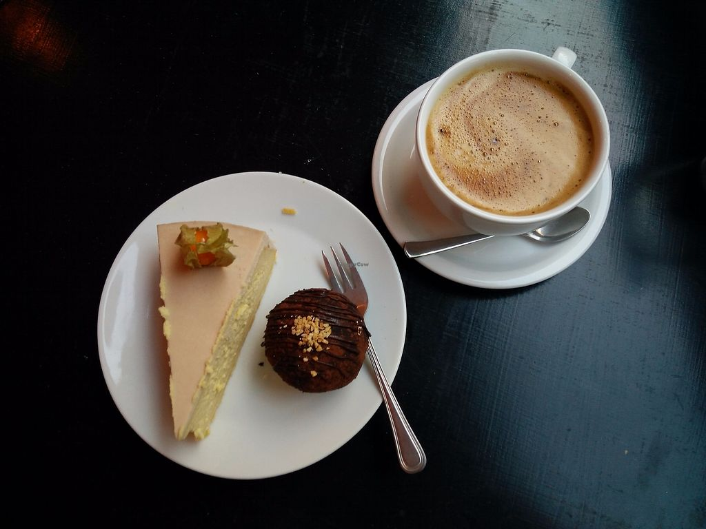 """Photo of Lokal Dela Krem  by <a href=""""/members/profile/martinicontomate"""">martinicontomate</a> <br/>tofu cheesecake with passion fruit, chocolate ball and cereal coffee <br/> October 7, 2017  - <a href='/contact/abuse/image/90212/312919'>Report</a>"""