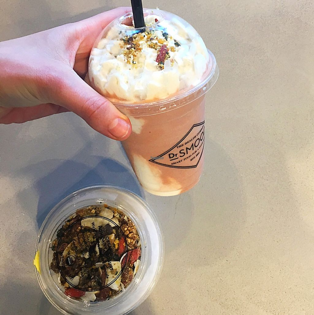 """Photo of Dr Smood - South Miami  by <a href=""""/members/profile/NonaLanai"""">NonaLanai</a> <br/>Coconut yogurt parfait and strawberry mylk shake with coconut whipped cream  <br/> April 15, 2017  - <a href='/contact/abuse/image/90251/248543'>Report</a>"""