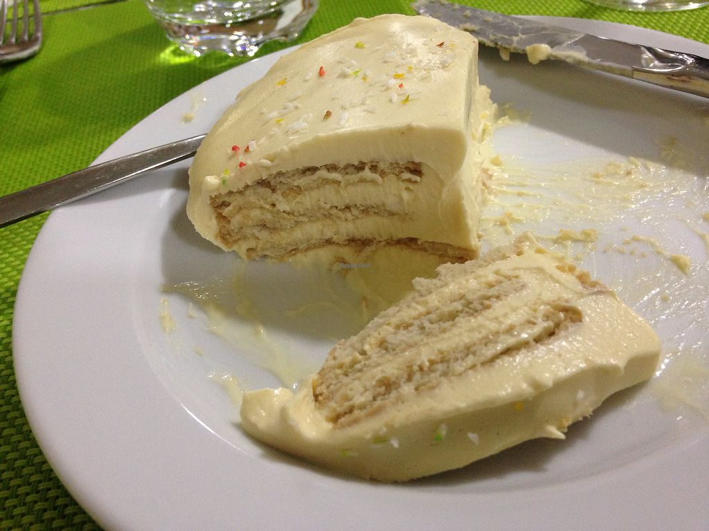 """Photo of Lisbon Vegan Restaurante  by <a href=""""/members/profile/vegangelic"""">vegangelic</a> <br/>Mango mousse cake <br/> September 9, 2017  - <a href='/contact/abuse/image/90267/302510'>Report</a>"""