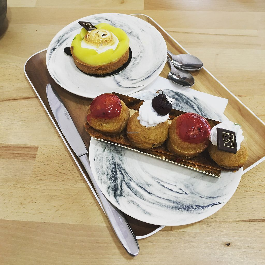 "Photo of VG Pâtisserie  by <a href=""/members/profile/Le%20Hegarat"">Le Hegarat</a> <br/>cherry saint honoré and lemon tart  <br/> July 10, 2017  - <a href='/contact/abuse/image/90318/278577'>Report</a>"