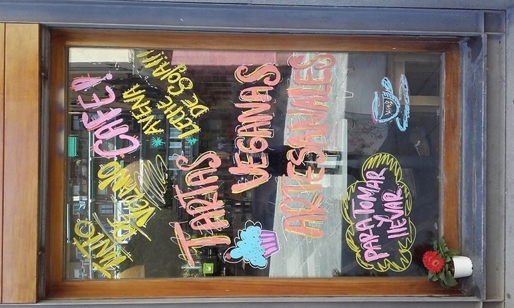 """Photo of CLOSED: Cafeteria La Plaza  by <a href=""""/members/profile/LeFunks"""">LeFunks</a> <br/>Coffe-shop window with some vegan friendly stuff on it <br/> April 24, 2017  - <a href='/contact/abuse/image/90343/251898'>Report</a>"""