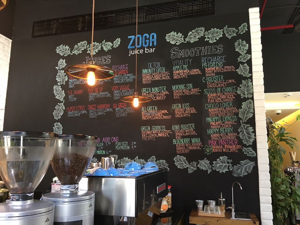 "Photo of Zoga Cafe  by <a href=""/members/profile/TattooLady"">TattooLady</a> <br/>juice and smoothie board <br/> April 16, 2017  - <a href='/contact/abuse/image/90380/248832'>Report</a>"