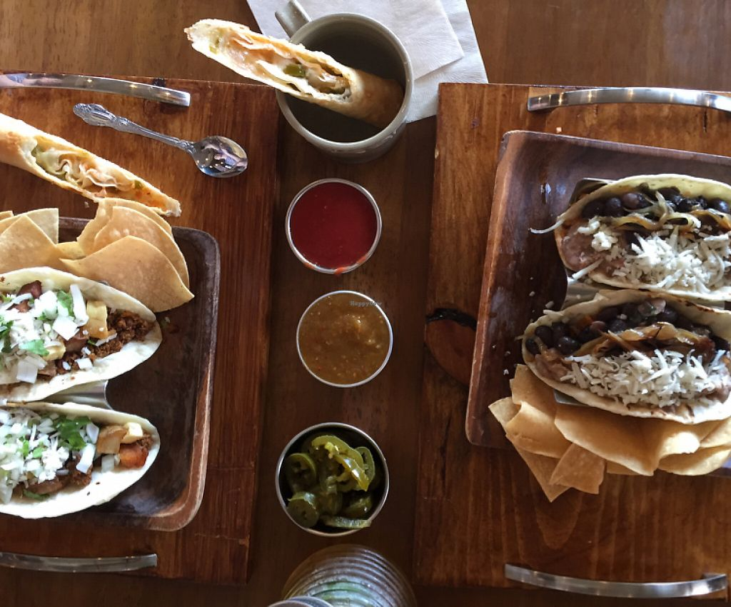 """Photo of Esparza's Tacos & Coffee  by <a href=""""/members/profile/amanda.rahimian"""">amanda.rahimian</a> <br/>vegan chorizo tacos (left) and bean tacos (right) with vegan pizza stick <br/> May 8, 2017  - <a href='/contact/abuse/image/90410/257077'>Report</a>"""