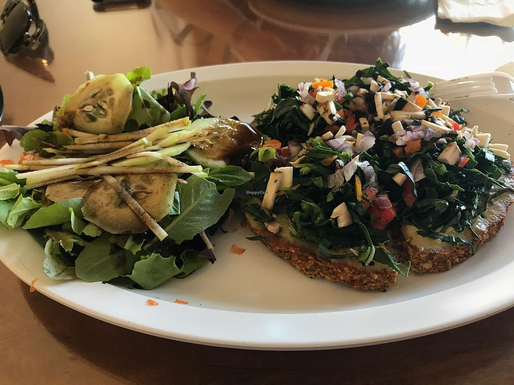 """Photo of Julia's Juice Bar Farm Fresh Cafe  by <a href=""""/members/profile/Zulusound"""">Zulusound</a> <br/>Raw cauliflower pizza was very very good! <br/> March 5, 2018  - <a href='/contact/abuse/image/90427/367221'>Report</a>"""