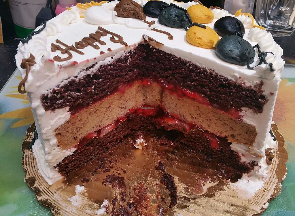 "Photo of Cakes By Karen  by <a href=""/members/profile/ScottK61"">ScottK61</a> <br/>Three layers chocolate, banana, chocolate, strawberry filling... and it's vegan!