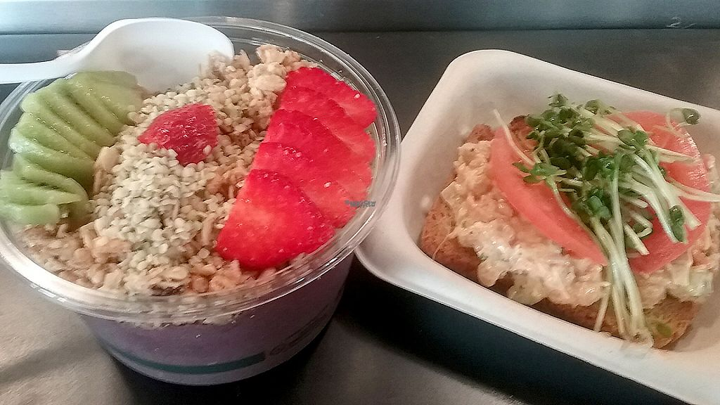 """Photo of Delicious Raw  by <a href=""""/members/profile/mshelene"""">mshelene</a> <br/>Tropic acai bowl and Vegan egg salad tartine <br/> April 15, 2017  - <a href='/contact/abuse/image/90431/248526'>Report</a>"""