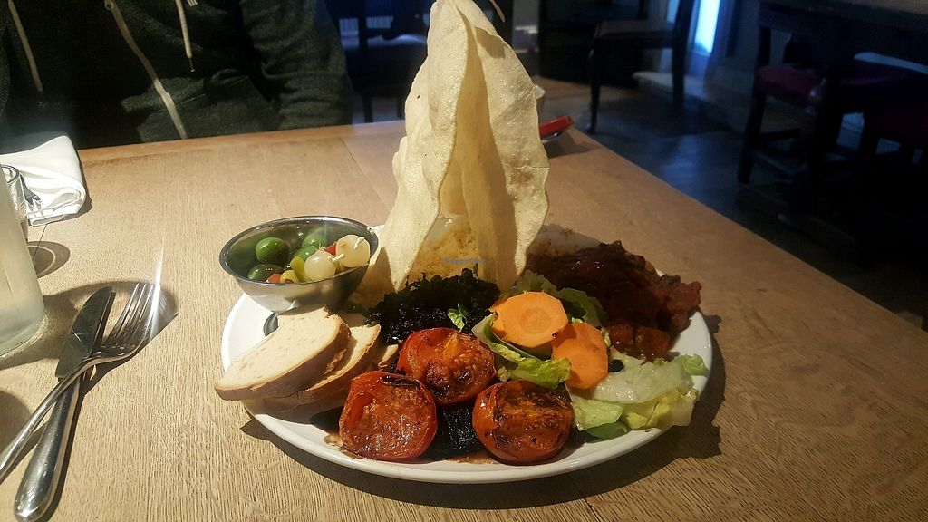 """Photo of The Windmill Inn  by <a href=""""/members/profile/veganaurora"""">veganaurora</a> <br/>Huge plate of tasty vegan meze <br/> January 20, 2018  - <a href='/contact/abuse/image/90441/349012'>Report</a>"""