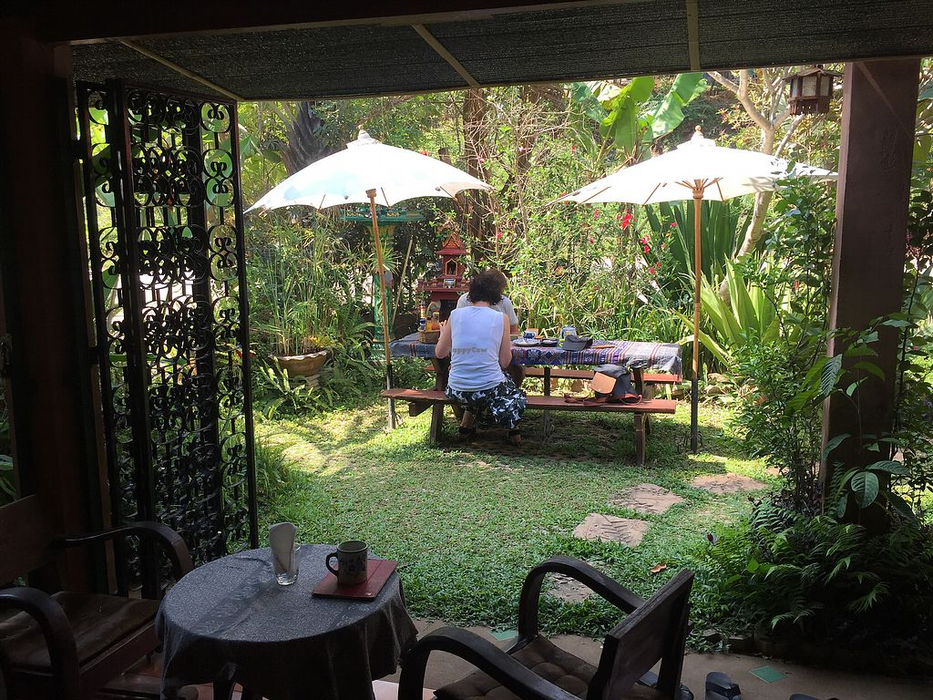 """Photo of Seven Elephants Cafe  by <a href=""""/members/profile/Luminous"""">Luminous</a> <br/>Garden tables <br/> May 1, 2018  - <a href='/contact/abuse/image/90462/393317'>Report</a>"""