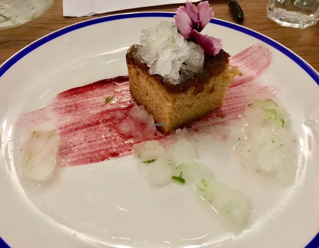 """Photo of The Salamander  by <a href=""""/members/profile/RealGandy"""">RealGandy</a> <br/>Lemon Drizzle cake with Gin & Tonic Granita <br/> April 19, 2017  - <a href='/contact/abuse/image/90473/249831'>Report</a>"""