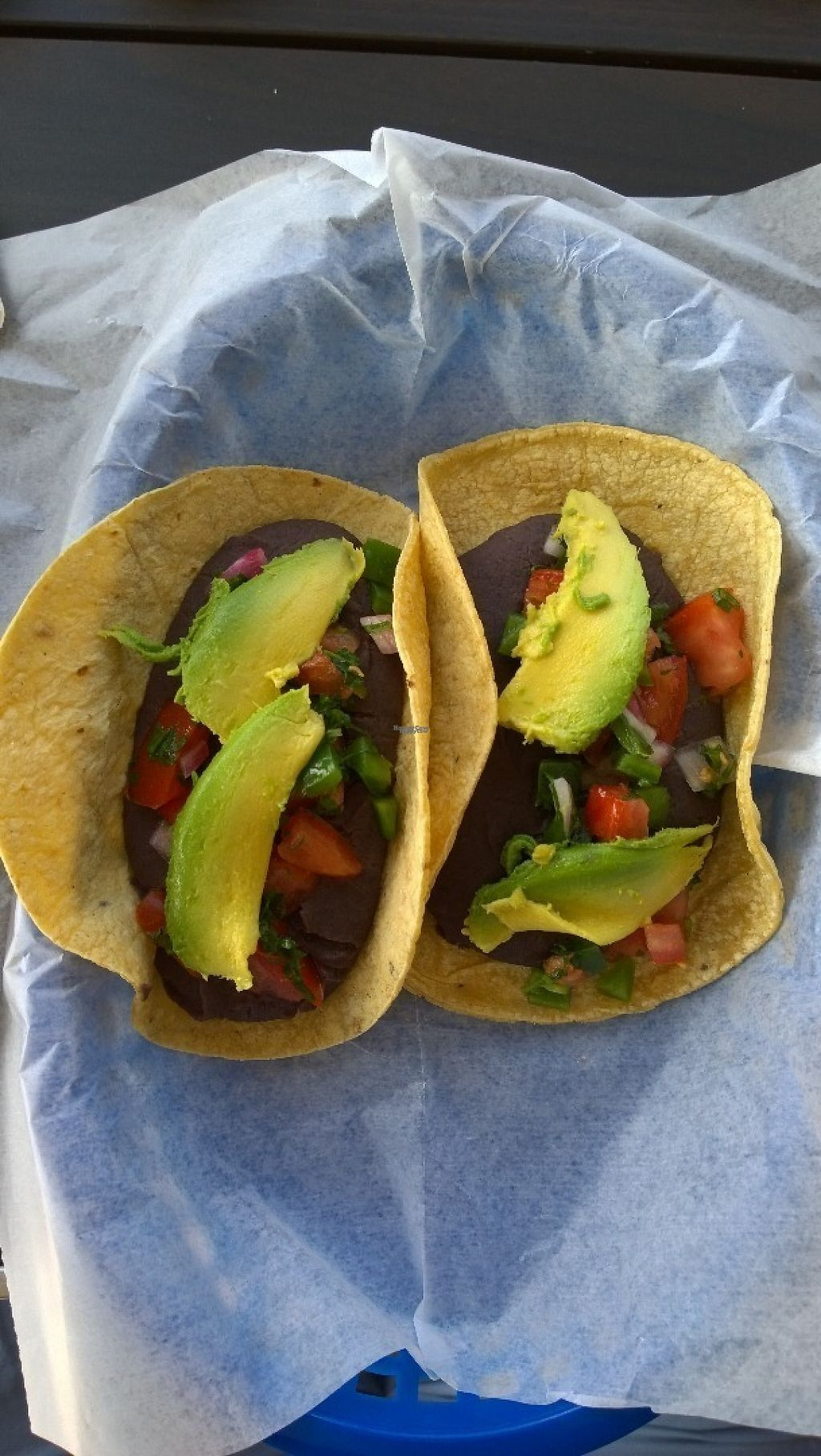 """Photo of Tacodeli  by <a href=""""/members/profile/veggie_htx"""">veggie_htx</a> <br/>Freakin' Vegan tacos: refried beans, pico de gallo, avocado <br/> April 16, 2017  - <a href='/contact/abuse/image/90480/249070'>Report</a>"""