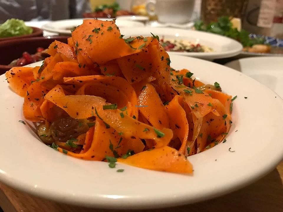 "Photo of Dobrumba  by <a href=""/members/profile/tcsengusz"">tcsengusz</a> <br/>Moroccan carrots - Moroccan spiced marinated carrot salad with dried fruits, honey, sumac and creamy yoghurt - ca. 3 Euro <br/> September 20, 2017  - <a href='/contact/abuse/image/90500/306374'>Report</a>"