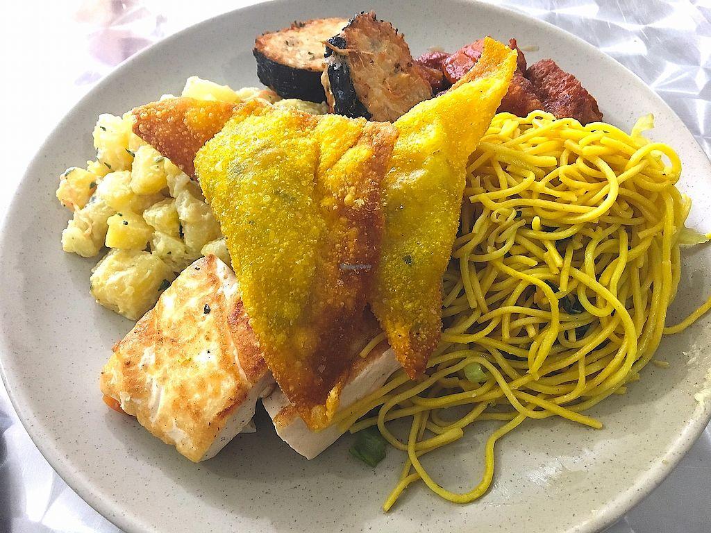 "Photo of La Casa Vegetariana  by <a href=""/members/profile/CrisyRivera"">CrisyRivera</a> <br/>Fried eggplant, soy meat, noodles, tofu, potato salad.  <br/> November 11, 2017  - <a href='/contact/abuse/image/90510/324395'>Report</a>"