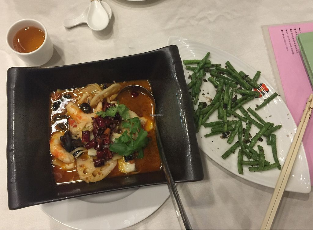 """Photo of Xin Hong Vegetable Cuisine  by <a href=""""/members/profile/NicolaWintrich"""">NicolaWintrich</a> <br/>Sichuan Soup & Four Season Beans <br/> October 27, 2017  - <a href='/contact/abuse/image/90581/319181'>Report</a>"""