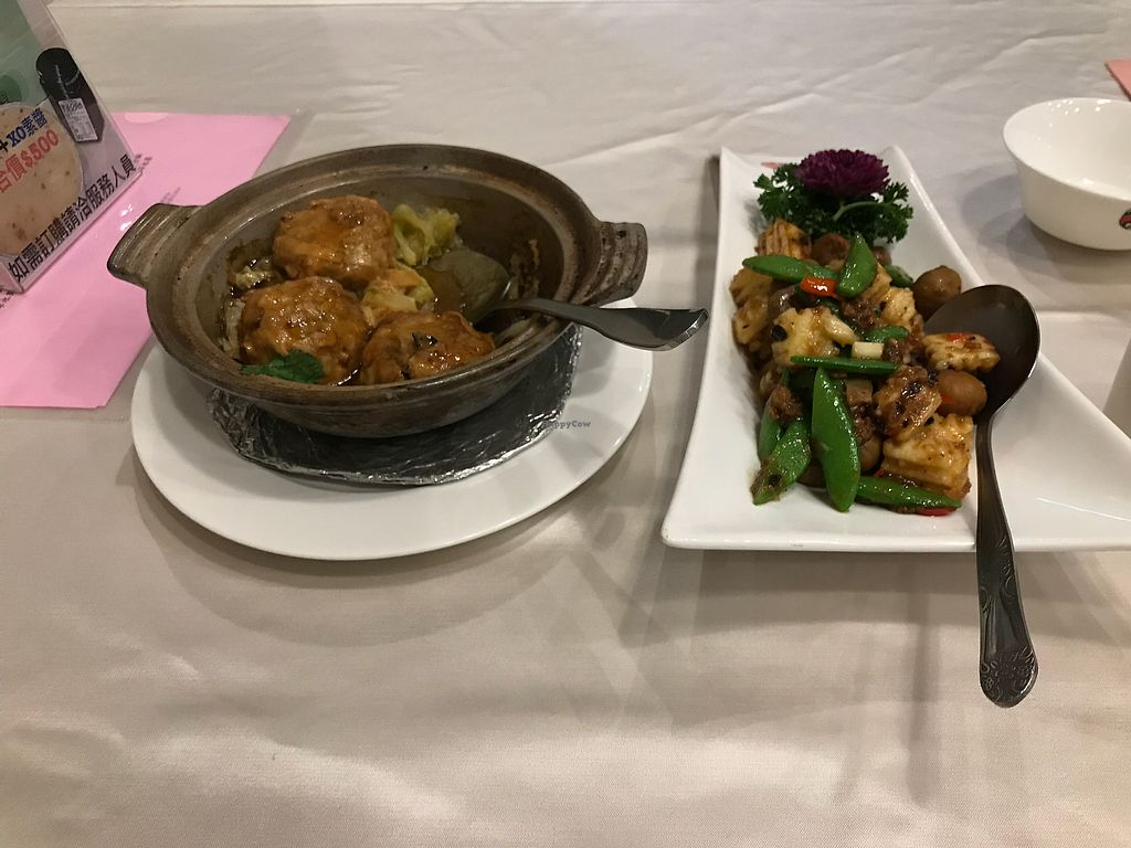 """Photo of Xin Hong Vegetable Cuisine  by <a href=""""/members/profile/Whitianga"""">Whitianga</a> <br/>Tofu-Vegetable Balls (fabulous), and Chestnut-green peas-something :) <br/> January 20, 2018  - <a href='/contact/abuse/image/90581/348664'>Report</a>"""