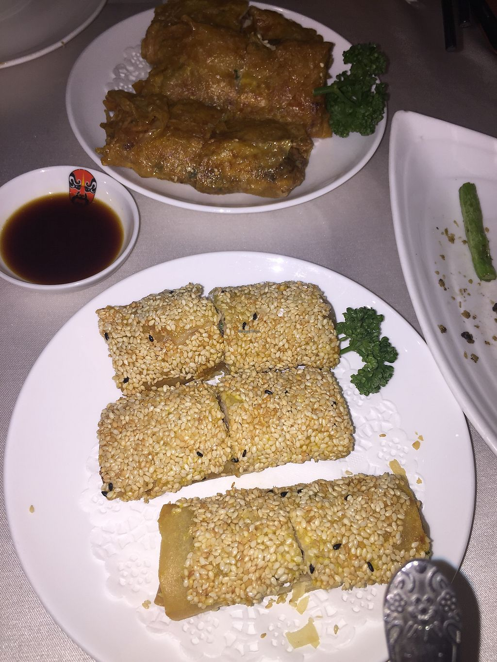 """Photo of Xin Hong Vegetable Cuisine  by <a href=""""/members/profile/Nat55"""">Nat55</a> <br/>Two spring roll varieties  <br/> April 24, 2018  - <a href='/contact/abuse/image/90581/390563'>Report</a>"""