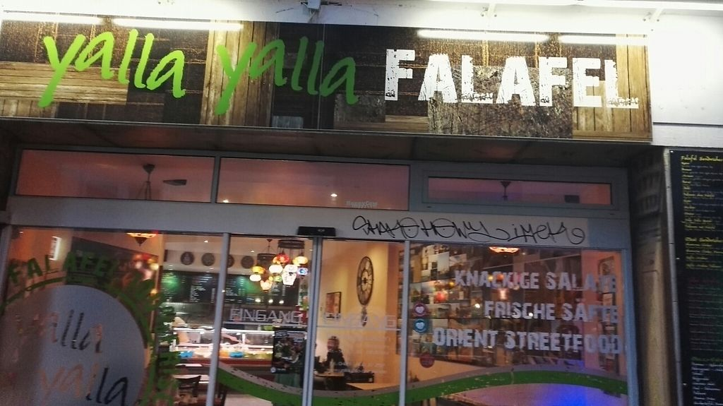 "Photo of Yalla Yalla Falafel  by <a href=""/members/profile/Miio%20Seppaenen"">Miio Seppaenen</a> <br/>front <br/> April 18, 2017  - <a href='/contact/abuse/image/90590/249670'>Report</a>"