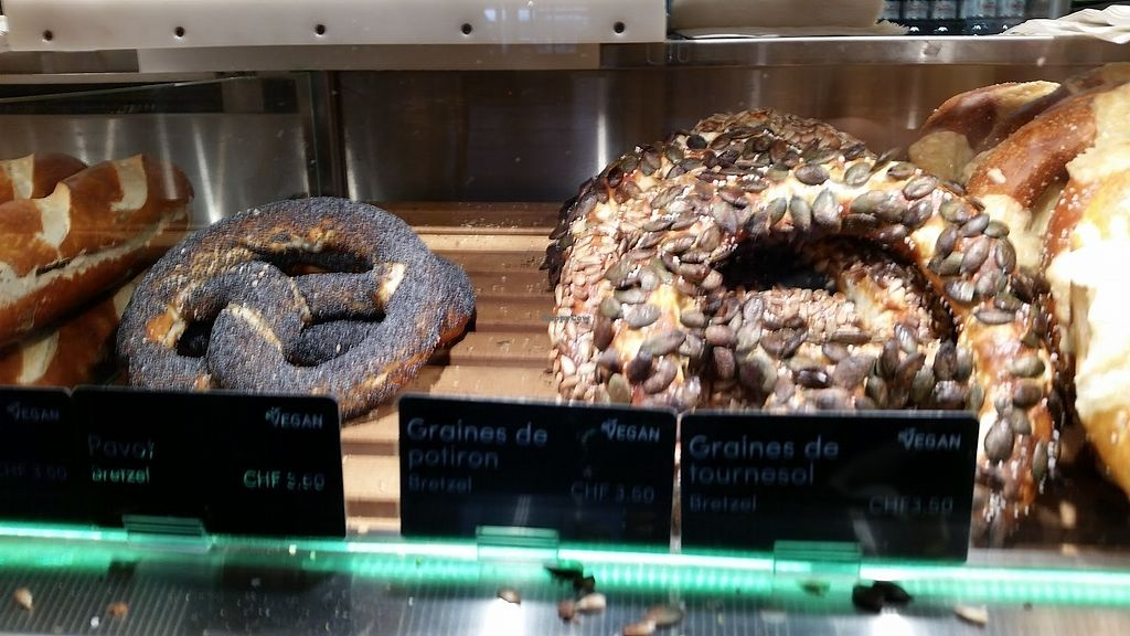 """Photo of Brezelkonig  by <a href=""""/members/profile/StephanieKarinHaugen"""">StephanieKarinHaugen</a> <br/>A little blurry but a couple of the incredible, fresh vegan pretzel options. SO good! <br/> January 12, 2018  - <a href='/contact/abuse/image/90592/345802'>Report</a>"""