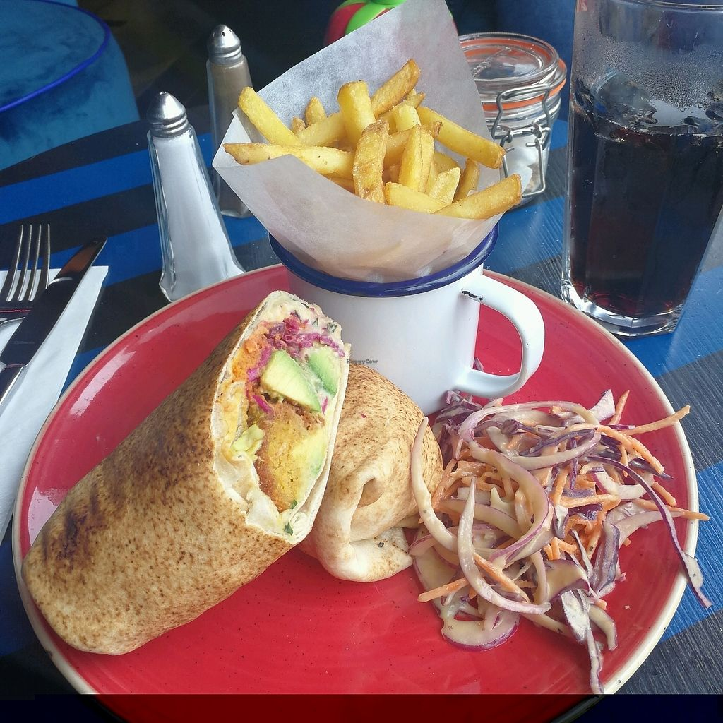 """Photo of Delfino Lounge  by <a href=""""/members/profile/AbiRose"""">AbiRose</a> <br/>Vegan falafel and houmous wrap with added Avacado, fries and Vegan slaw ? <br/> August 22, 2017  - <a href='/contact/abuse/image/90595/295674'>Report</a>"""