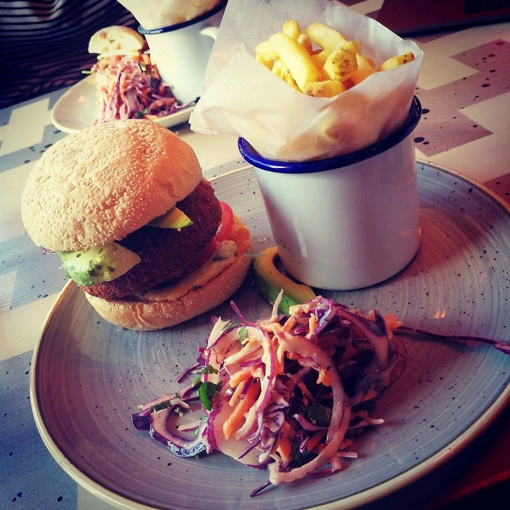 """Photo of Delfino Lounge  by <a href=""""/members/profile/AbiRose"""">AbiRose</a> <br/>Vegan falafel burger with fries and Vegan slaw  <br/> August 22, 2017  - <a href='/contact/abuse/image/90595/295677'>Report</a>"""