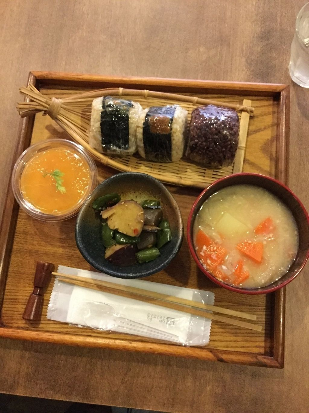 "Photo of Omusubi-Chaya Waseda  by <a href=""/members/profile/Nonchalante"">Nonchalante</a> <br/>Rice balls, miso soup, vegetable side dish, mikan jelly <br/> April 22, 2017  - <a href='/contact/abuse/image/90701/251073'>Report</a>"