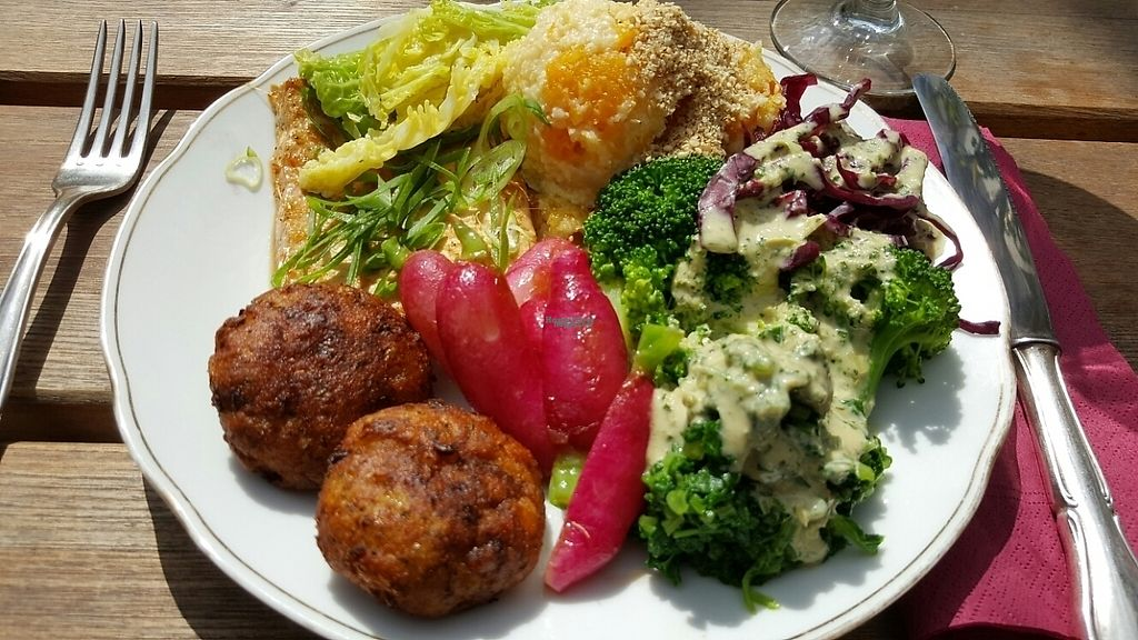 """Photo of Simone's Kitchen  by <a href=""""/members/profile/Hedera"""">Hedera</a> <br/>Millet with sweet vegetables, marinated baked tofu, potato buckwheat croquette with mustard sauce,  broccoli, paksoi with tahini lemon dressing.  <br/> April 21, 2017  - <a href='/contact/abuse/image/90726/250701'>Report</a>"""