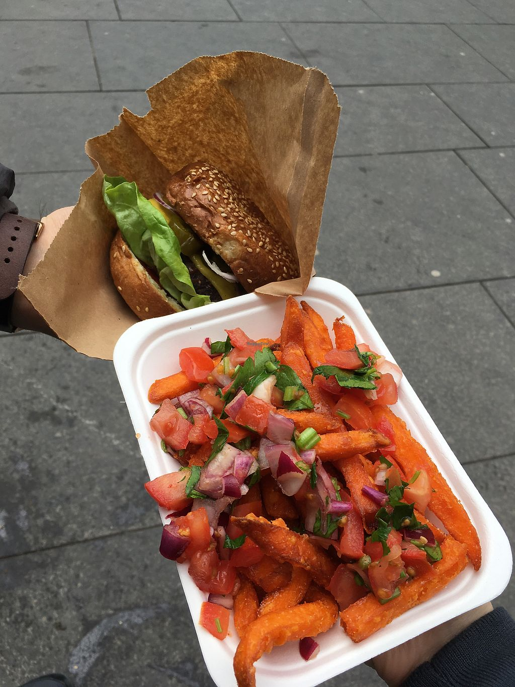 "Photo of Freddy & Hicks  by <a href=""/members/profile/RhonaM"">RhonaM</a> <br/>Sweet potato fries with salsa and BBQ burger - yum! <br/> March 30, 2018  - <a href='/contact/abuse/image/90795/378489'>Report</a>"