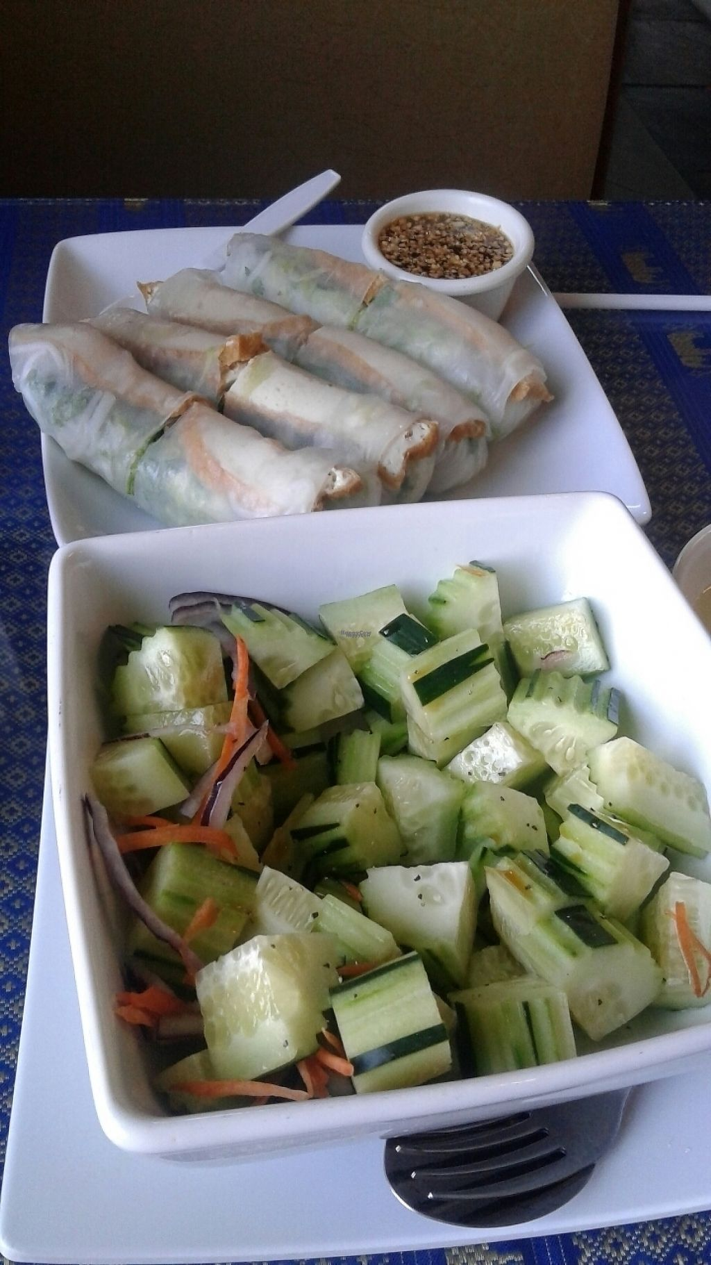 """Photo of Thai Cuisine II  by <a href=""""/members/profile/colettesynrise"""">colettesynrise</a> <br/>cucumber salad and crispy tofu spring rolls <br/> April 21, 2017  - <a href='/contact/abuse/image/90861/250709'>Report</a>"""