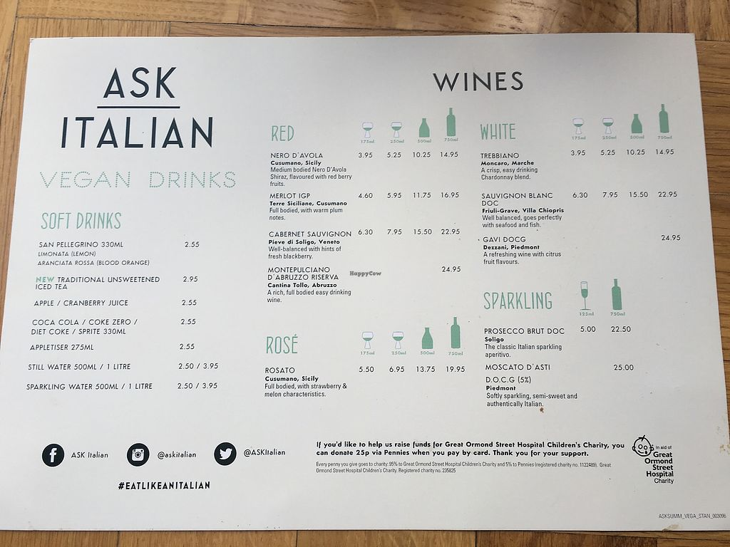 """Photo of Ask Italian  by <a href=""""/members/profile/snubnog"""">snubnog</a> <br/>Separate vegan drinks menu <br/> September 14, 2017  - <a href='/contact/abuse/image/90956/304356'>Report</a>"""